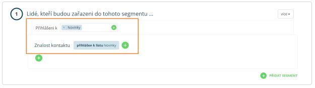Segmentační pravidlo pro e-mailingovou automatickou kampaň uvítací e-mail