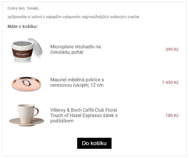 Zobrazení produktů v košíku na základě produktové šablony